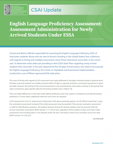 English Language Proficiency Assessment: Assessment Administration for Newly Arrived Students Under ESSA Image