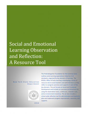 Cover of document with title: Social and Emotional Learning Observation and Reflection: A Resource Tool