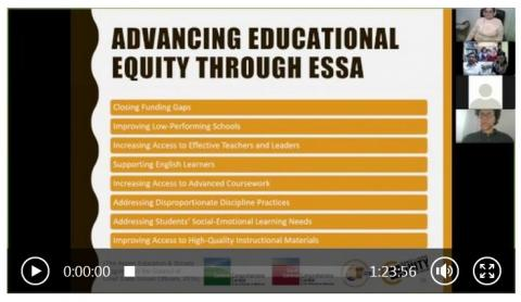 "Screen capture from webinar with title ""Advancing Educational Equity Through ESSA"""