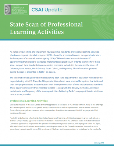 State Scan of Professional Learning Activities